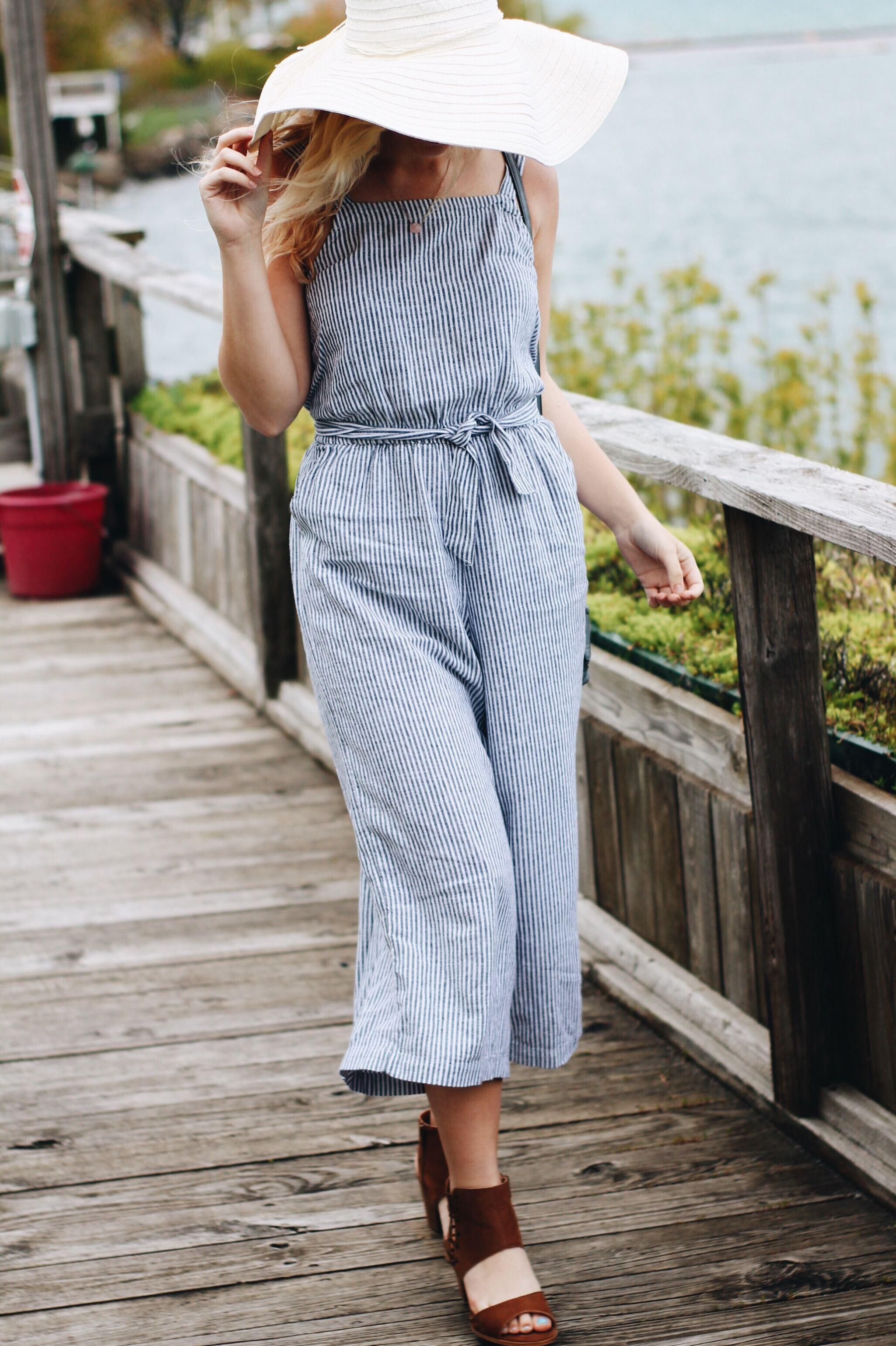 Ootd Striped Jumpsuit Block Heels My Summer Playlist Vintage