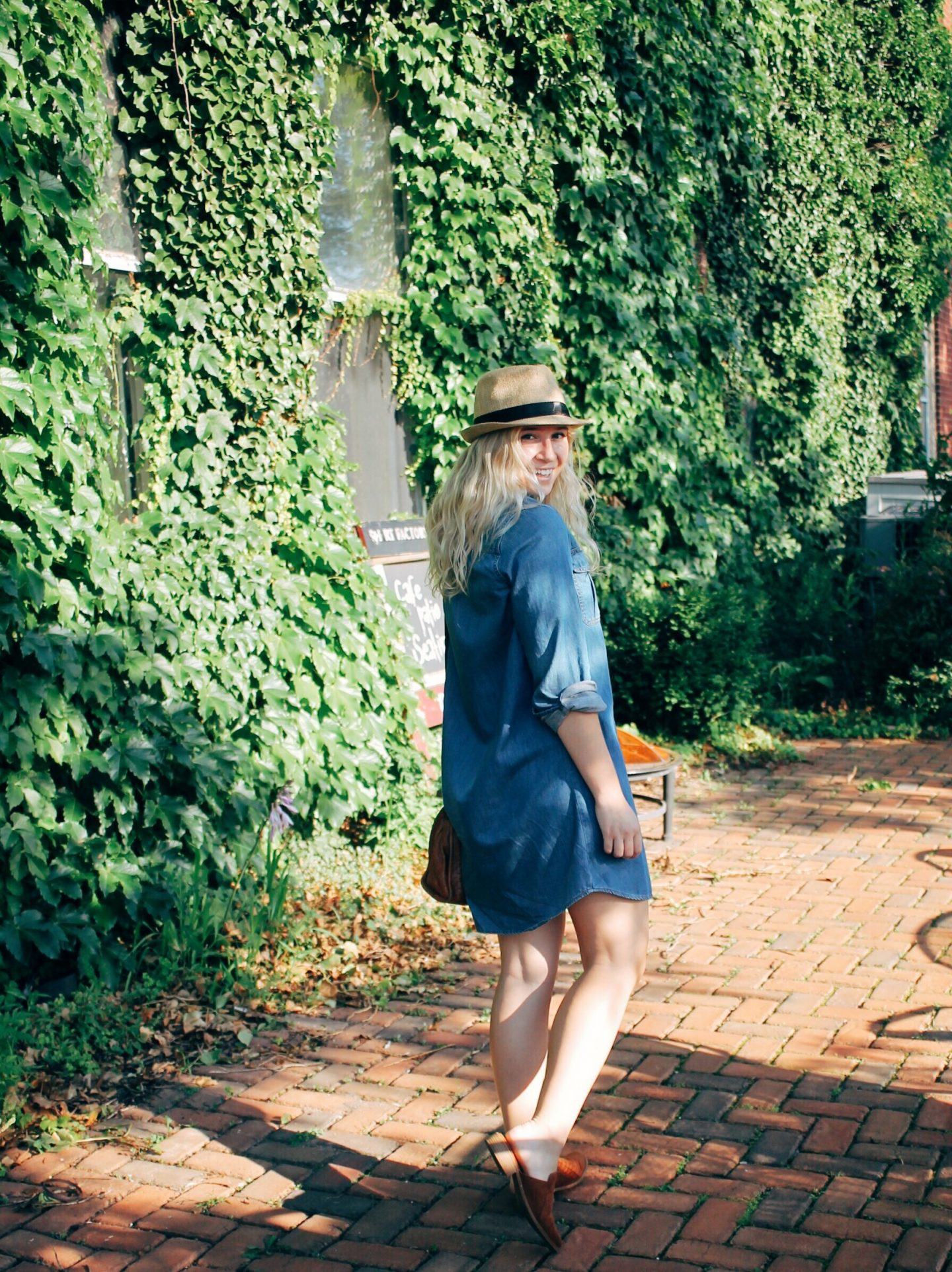 Denim Shirtdress + Brown Suede Mules